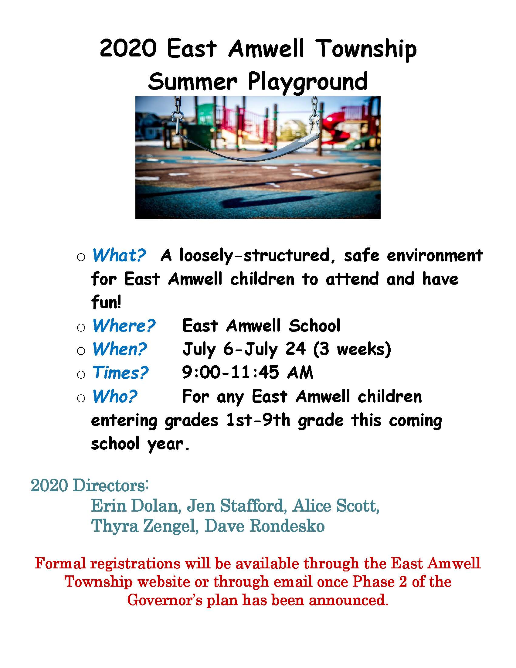 2020 East Amwell Township Summer Playground 2