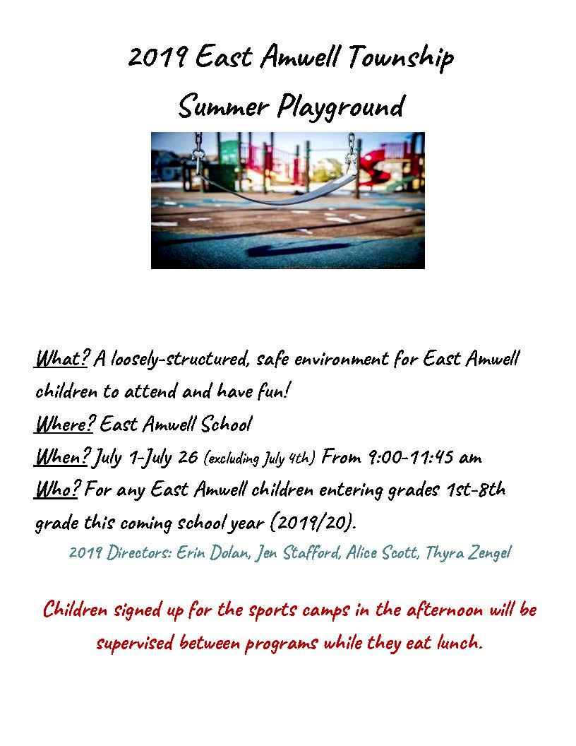 2019 East Amwell Township Summer Playground one pager